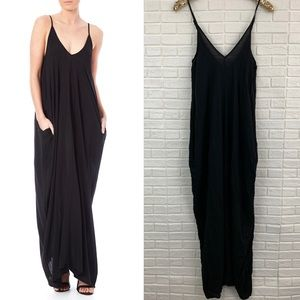 Elan black maxi dress draped pockets coverup boho